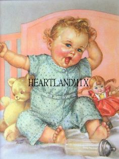 Illustration by Charlotte Becker Vintage Pictures, Vintage Images, Cute Pictures, Baby Images, Children Images, Vintage Greeting Cards, Vintage Postcards, Baby Illustration, Baby Kind