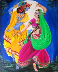 Radha Krishna dancing in the Moonlight Painting at ArtistRising.com