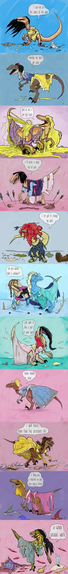 In honor of Jurassic Park, Artist Laura Cooper created velociraptors. as Disney princesses. In honor of Jurassic Park, Artist Laura Cooper created velociraptors. as Disney princesses. Disney Love, Disney Magic, Disney Art, Disney And Dreamworks, Disney Pixar, Princesas Disney Zombie, Jurassic Park World, Jurassic Park Funny, Disney Memes