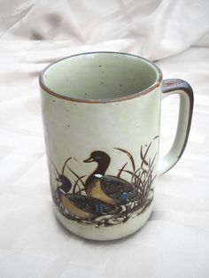 Otagiri Coffee Cup Mug Mallard Ducks Flying by Hometreasury