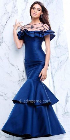 Tarik Ediz Prom Tiered Mermaid Beaded Illusion Off the Shoulder Prom Dress  Fancy Gowns d07a66895ead