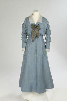 1912-1914, England - Day dress - Linen, silk organza, silk