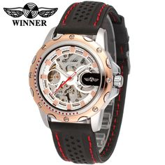 16.79$  Watch now - http://alie1i.shopchina.info/go.php?t=32630010654 - China Popular Hot Mechanical Brand Winner Rubber Rose Gold Fashion Men Wristwatches Automatic Watch Relogio Masculino Hours  #buyininternet