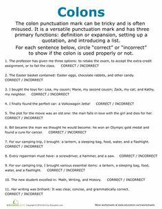 Colon Worksheets | Literacy | Pinterest | Worksheets
