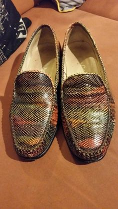 5a1a14d39614 VAN DAL LOAFERS REEDHAM LEATHER MULTI SNAKE SKIN GREEN BROWN RED 5.5 C  ITALY Designer Clothing