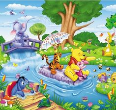 Wall mural of Winnie the Pooh. It is divided into 4 parts and is made of high quality poster paper. Winnie The Pooh Tattoos, Winnie The Pooh Drawing, Winnie The Pooh Pictures, Winnie The Pooh Plush, Winne The Pooh, Winnie The Pooh Quotes, Winnie The Pooh Friends, Disney Winnie The Pooh, Mickey Mouse Wallpaper