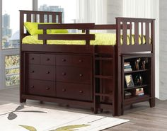 Ian Twin Loft Bed with 6-Drawer Double Dresser and Bookcase