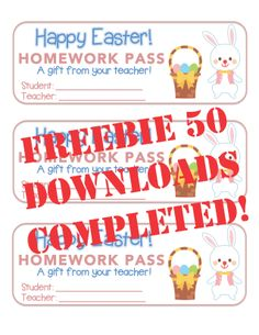 "FREEBIE 50! ""Easter"" Bunny With Basket - Homework Pass – Holiday FUN! (color & black line)***THIS OFFER IS HAS EXPIRED*** ""FREEBIE 50"" DOWNLOADS COMPLETED! Follow this board for updates on the next Rich Carlson's TPT Follower ""FREEBIE 50"" offer."