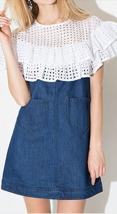 eyelet and denim dress