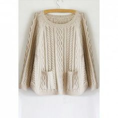 $13.66 Stylish Loose Fitting Scoop Neck Double Pocket Cable Knit Sweater for Women