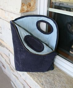 this zipper tote was made from corduroy pants, but would be great  made from denim