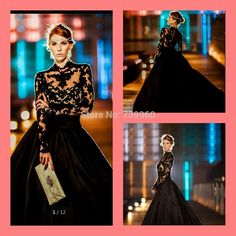 Black Wedding Dresses with Long Sleeves Illusion Sheer sexy stylish Bridal Gowns Taffeta High Neck Wedding Gowns with Appliques-in Wedding Dresses from Weddings & Events on Aliexpress.com | Alibaba Group