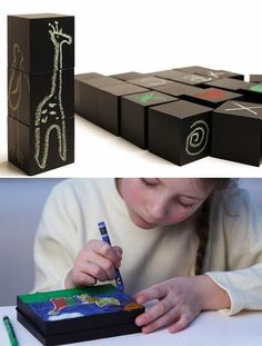 mommo design: CHALKBOARD CRAFTS - wooden blocks