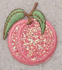 """Glittery Single Peach Iron on Applique Size is approx. 1"""" x 1-1/2"""" (2.54cm x 3.81cm). High quality, detailed embroidery applique. Can be sewn or ironed on. Great for hats, bags, clothing, and more!"""