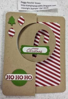 handmade Christmas card from Stampin Pegcadillo ... flip card with circle ... kraft base with panel of red and white stripes ... luv the negative space die cut candy cane that frames the striped paper below ... festive look ... Stampin' Up!