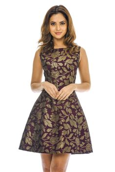 AX Paris Womens Purple Leaf Printed Skater Mini Dress Stylish Ladies  Fashion Ball Dresses 3ba753ef6