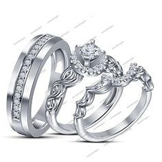 14K White Gold Over Round Cut White Diamond in 925 Silver Trio Wedding Ring Set