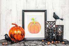 FALL PUMPKIN watercolor printable - Printable Watercolor Art - Digital Download