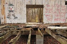 Another abandoned amusementpark. Complete with creepy red writing on the wall.