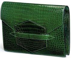40f9c9babfc4 Vintage Hermes green croco Hermes Clutch