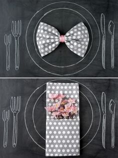 His and her plate settings. Could easily adjust to match the theme of your event!