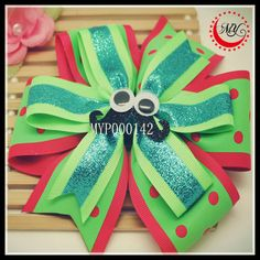 colorful glitter flower dot print grosgrain ribbon hair bow with elastic band, ponytail holder $0.1~$1.0