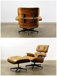 The desired chair - a tan leather and wood Eames (or Eames style) Plycraft lounge chair