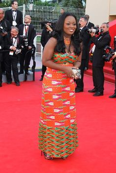 Jackie Appiah in Jil at the 2012 Cannes Film Festival! #AfricaFashion #AfricaFashionLongDress #AfricanPrints