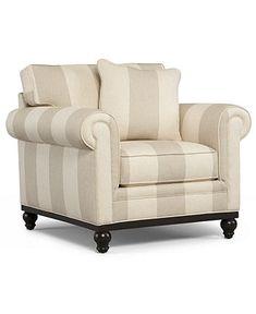 Martha Stewart Collection Living Room Chair, Club Striped Arm Chair - Chairs - furniture - Macy's - $699