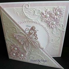 Card With Embellishments And Heart Die Cuts