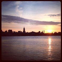 NYC skyline from Hoboken, 7am thedigestonline.com #hoboken #thedigest