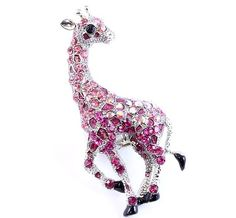 Pink Giraffe Stretch Ring Crystal Texture 2.5 in Long Silver Tone New