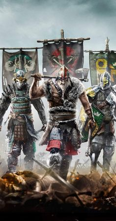 I like how the samurai is Orochi. Not kensei Viking Art, Viking Warrior, For Honor Viking, For Honor Samurai, For Honour Game, Armadura Medieval, Gaming Wallpapers, Wallpaper Wallpapers, Mobile Wallpaper