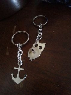 Hand made/sawed anchor and owl keychains for my Mom