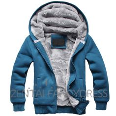 Fashion Mens Winter Thicken Warm Hoodie Blue Coat Slim Fit Jacket Causual Outerwear