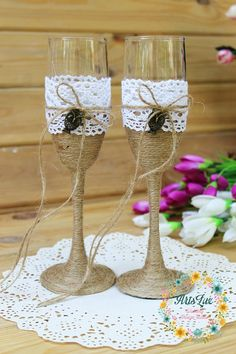 Rustic Wedding Champagne glasses with Owl-Lace Rustic Toasting