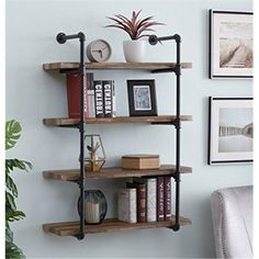 4D Concepts 621140 Anacortes Four Shelf Piping - Black Pipe with Brown Shelves, As Shown