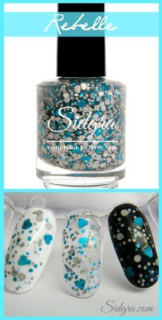 Glitter Nail Polish | Sidgra | Rebelle | Shades of Grey Collection 2014 |  Custom Blended Full Size bottle. 5-Free, Vegan & Cruelty Free. $9.99   https://www.etsy.com/shop/Sidgra #heartglitternailpolish #glitternailpolish #sidgranailpolish #graynailpolish #greynailpolish