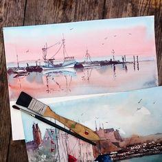 Sonnenuntergang. Ostsee. Sunset at Baltic sea. Original handmde aquarelle von abramarin auf Etsy