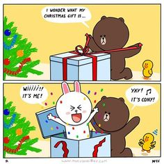 line friends christmas Cony Brown, Brown Bear, Line Cony, Cute Bear Drawings, Bear Gif, Cute Couple Cartoon, Bunny And Bear, Cute Love Gif, Brown Line