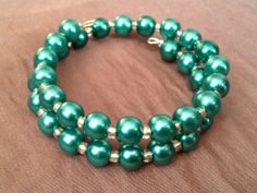Baby/Toddler Coil Bracelet in Teal Pearls by PeacocksandLeopards, $6.00