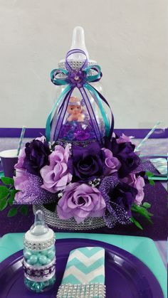 Items Similar To Purple And Lavender Baby Shower Centerpiece With Aqua /  Girls Baby Shower Mermaid, Princess, Frozen Baby Shower Theme And  Decorations On ...