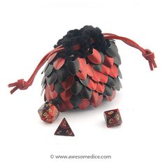 Red & Black Dragonscale Dice Bag - Small