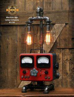 Steampunk Industrial Lamp / Antique Sun Volt Meter / Automotive / Pipe / #1739