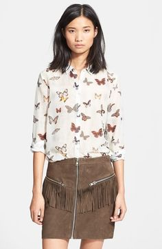 The Kooples Butterfly Print Cotton Silk Shirt available at #Nordstrom
