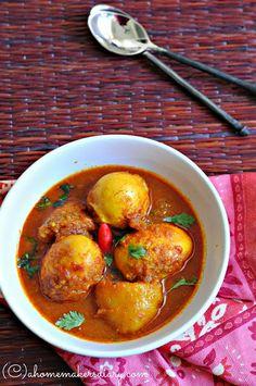 Apr 2019 - A Homemaker's Diary: Dimer Dalna/Jhol (Bengali style Egg curry with potato) Veg Recipes, Curry Recipes, Indian Food Recipes, Asian Recipes, Vegetarian Recipes, Cooking Recipes, Ethnic Recipes, Recipies, Bangladeshi Food