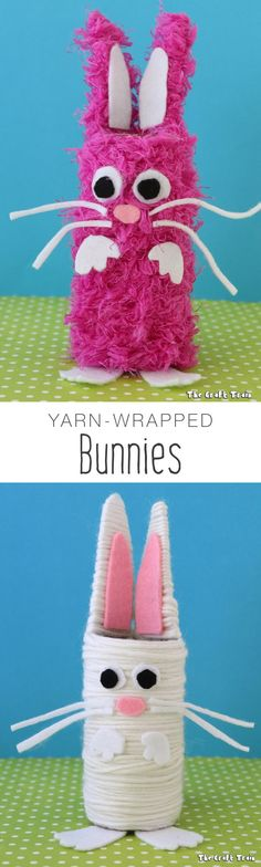 Create some cute yarn-wrapped bunnies using cardboard tubes for Easter