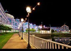 A romantic evening stroll at Disney's Beach Club Resort is a great honeymoon activity!