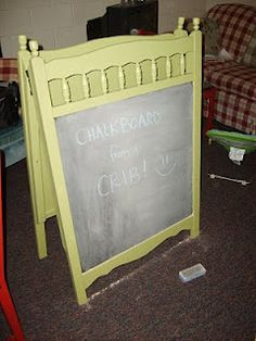 Chalk Board from an old Crib. You can use white board paint on one side also!