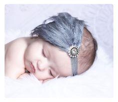 Baby Headbands..Baby Girls Headbands..Newborn Photo Prop..Newborn Headbands..Feather Headbands..Feather Fascinator..Silver..Gray. $18.00, via Etsy.